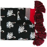 Stella McCartney swan print tasseled scarf