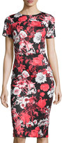 Neiman Marcus Short-Sleeve Floral-Print Neoprene Midi Dress, Red