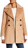BCBGeneration Double Breasted Fit & Flare Wool Blend Coat