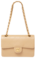 Chanel Vintage Beige Quilted Caviar Classic Flap Small