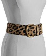 leopard pony hair wide belt