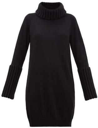 MM6 MAISON MARGIELA Ribbed-trim Roll-neck Sweater Dress - Womens - Black