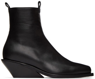 Ann Demeulemeester Black Square Toe Wedge Heel Boots