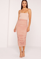 Missguided Ruched Side Faux Suede Midi Skirt Pink