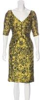 Lela Rose Jacquard Satin Dress