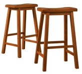 Homelegance Saddle Seat Barstool Set Hardwood/Oak (Set of 2)