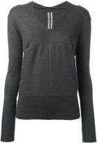 Rick Owens v-neck hooded top - women - Cashmere - L