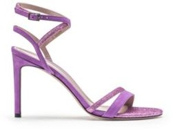 HUGO BOSS Italian Made Strappy Sandals In Suede And Glitter Fabric - Purple
