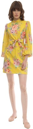 Zimmermann Printed Linen Mini Dress W/ Cut Outs