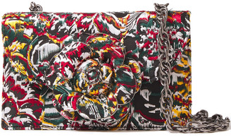 Oscar de la Renta Floral-appliqued Suede And Fil Coupe Shoulder Bag