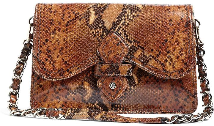 Brooks Brothers Python-Embossed Flap Bag