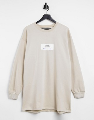 I SAW IT FIRST graphic oversized sweater dress in brown