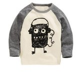 Soda Park Boys Doodle Big Eyes Monster Funny Long Sleeve T Shirt 3T