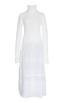 Loewe Ribbed-Knit Wool And Sheer Cotton Dress