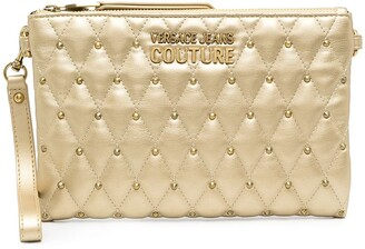 Versace Jeans Couture Metallic-Tone Studded Clutch Bag