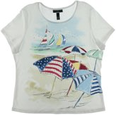 Karen Scott Womens Plus Embellished Graphic T-Shirt White