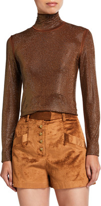 Pinko Pianeta Crystal-Embellished Turtleneck Top