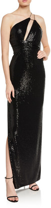 Aidan Mattox One-Shoulder Foiled Dot Knit Column Gown w/ Cutout