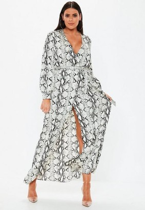 Missguided Plus Size Grey Snake Print Plunge Maxi Dress
