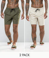 Asos Swim Shorts 2 Pack In Khaki & Stone Mid Length SAVE