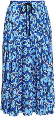 Markus Lupfer Coby Pleated Printed Crepe Midi Skirt