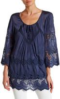 Tempo Paris 3/4 Sleeve Silk Blend Crochet Lace Blouse