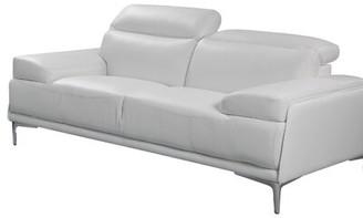 "Orren Ellis Karlin Genuine Leather 72"" Square Arm Loveseat Upholstery Color: Black"
