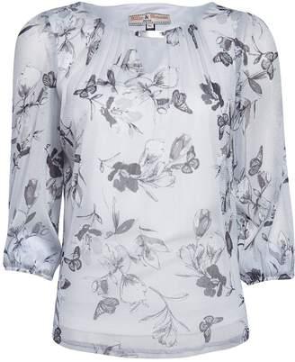 Dorothy Perkins Womens **Billie & Blossom Petite Grey Butterfly Print 3/4 Sleeve Top, Grey