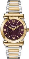 Salvatore Ferragamo 22mm Vega Two-Tone Bracelet Watch w/ Burgundy Dial