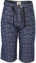 Fendi Monsters Print Lightweight Chambray Shorts