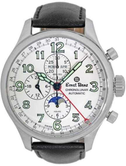 "Ernst Benz Chronolunar"" Automatic Stainless Steel Mens Strap Watch 47mm"