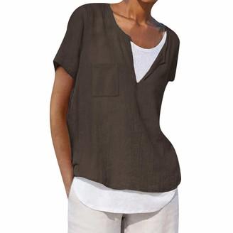 Toamen Women's Tops Womens Shirts Tops Sale Toamen Summer Casual V Neck Short Sleeve Loose Tunic Blouse T-Shirt with Pockets(Dark Gray 10)