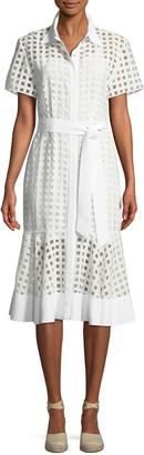 Milly Haley Window-Check Short-Sleeve Dress