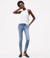 LOFT Frayed Trim Skinny Jeans in Seamed Indigo Wash