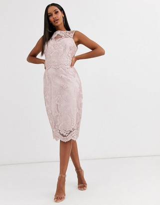 Lipsy premium sequin lace midi dress-Pink