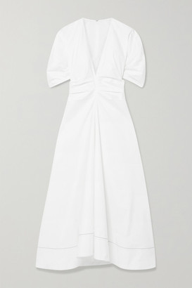 Proenza Schouler Gathered Stretch-cotton Poplin Midi Dress - White
