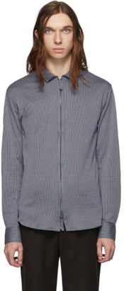 Giorgio Armani Navy and White Striped Jersey Zip Shirt