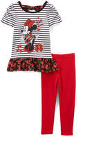 Children's Apparel Network Minnie Mouse Black Stripe Tee & Red Leggings - Infant & Toddler