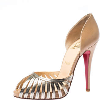 Louis Vuitton Christian Louboutin Beige/Gold Lasercut Metal and Leather D'Orsay Peep Toe Pumps Size 38