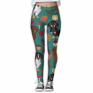 ANTOUZHE Dachshund Dog Autumn Pumpkin Leaves High Waist Out Pocket Yoga Pants Tummy Control Workout Running Stretch Yoga Leggings Autumn Trousers