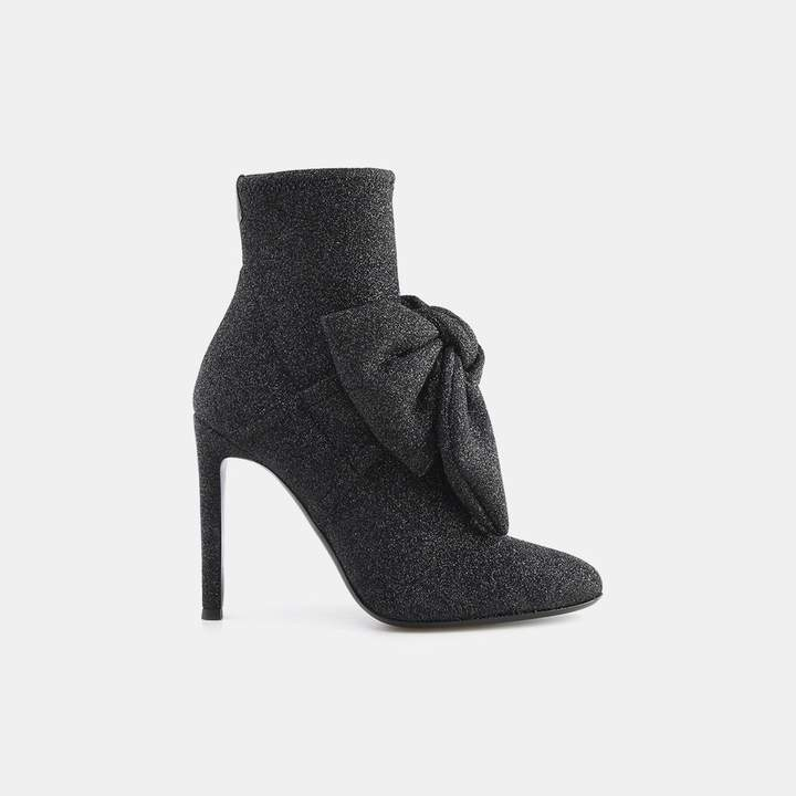 Giuseppe Zanotti Natalie Knotted Bow Glitter Textile Bootie