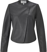 Jigsaw Short Leather Jacket, Graphite
