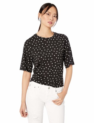 Three Dots Women's CS1575 Painted DOT Jersey Cropped TEE Black/White Extra Large