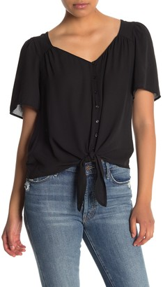 Lush V-Neck Short Sleeve Tie Front Top