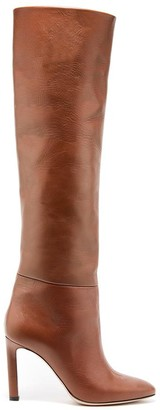 Oscar de la Renta Cognac Leather Margot Knee-High Boot