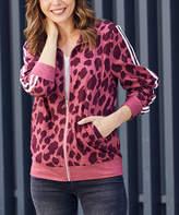 Luukse Women's Non-Denim Casual Jackets 101BURGUNDY - Burgundy Leopard Track Jacket - Women & Plus