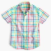 J.Crew Kids' short-sleeve Secret Wash shirt in electric gingham