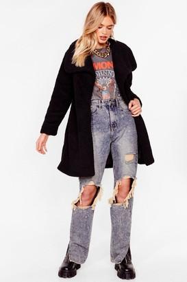 Nasty Gal Womens Teddy Faux Fur You Longline Coat - Black