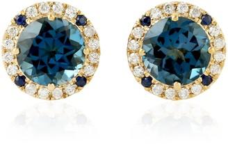 Artisan 18Kt Yellow Gold Blue Sapphire Topaz Natural Daimond Stud Earring Women Jewelry