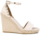 Valentino Leather Rockstud Espadrilles in White.